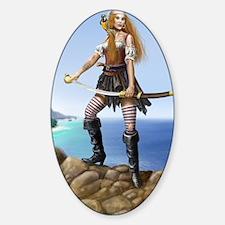 pirate wench fin bg Sticker (Oval)