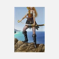 pirate wench fin bg Rectangle Magnet