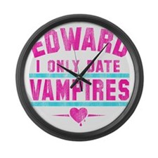 only date vampires-wht Large Wall Clock