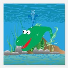 "2-wally_whale_green Square Car Magnet 3"" x 3"""