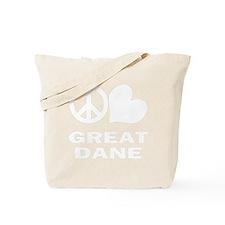 FIN-peace-love-great-dane-WonB Tote Bag