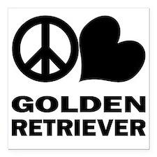 "FIN-peace-love-golden-re Square Car Magnet 3"" x 3"""
