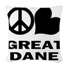 FIN-peace-love-great-dane Woven Throw Pillow
