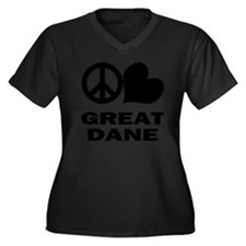 FIN-peace-lo Women's Plus Size Dark V-Neck T-Shirt