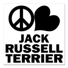 "FIN-peace-love-JRT Square Car Magnet 3"" x 3"""