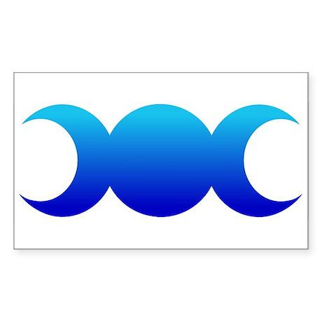 Blue Triple Goddess Rectangle Sticker