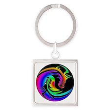 Zen rainbow dragons 11x11 Square Keychain