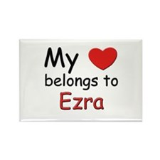 My heart belongs to ezra Rectangle Magnet