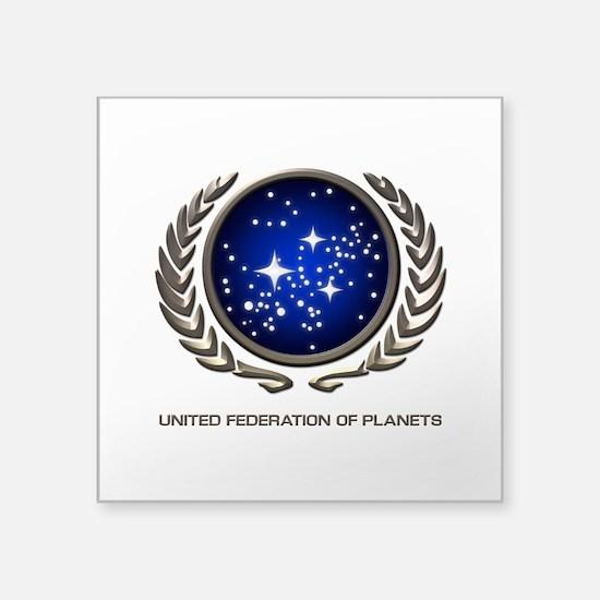 "STAR TREK UFP Insignia Square Sticker 3"" x 3"""