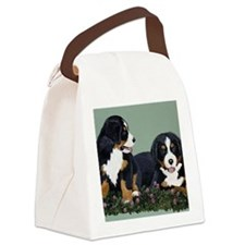 Bernese Pups in Clover Canvas Lunch Bag