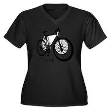 fixieshirt Women's Plus Size Dark V-Neck T-Shirt