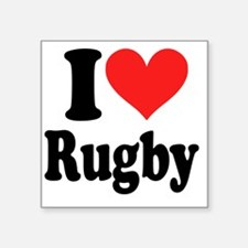 """I Heart Rugby Square Sticker 3"""" x 3"""""""