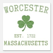 "worcester-massachusetts Square Car Magnet 3"" x 3"""