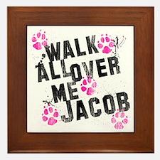 walk all ovr me-wht Framed Tile