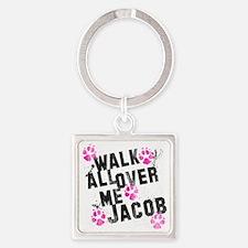 walk all ovr me-wht Square Keychain
