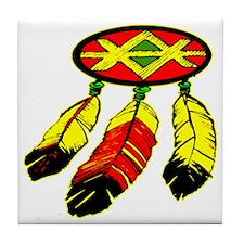 blk_Mandela_3_Feathers Tile Coaster