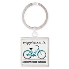 Happiness is a Beach Cruiser 2 Square Keychain