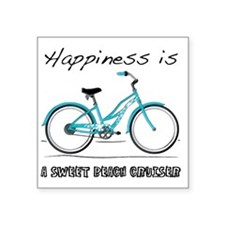"""Happiness is a Beach Cruise Square Sticker 3"""" x 3"""""""