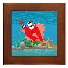 4-blow_fish_red Framed Tile