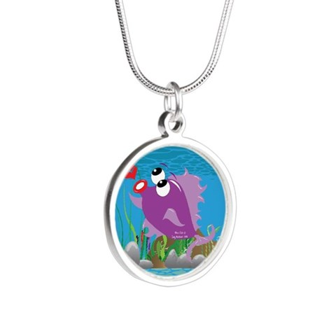 4-blow_fish_purple Silver Round Necklace