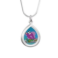 4-blow_fish_purple Silver Teardrop Necklace