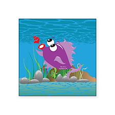 "4-blow_fish_purple Square Sticker 3"" x 3"""