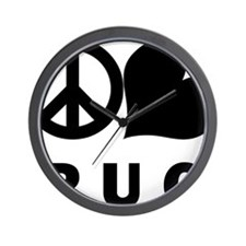 FIN-peace-love-pug-CROP Wall Clock