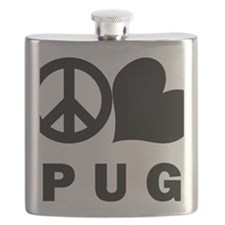 FIN-peace-love-pug-CROP Flask