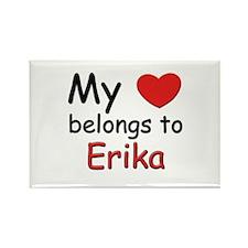 My heart belongs to erika Rectangle Magnet