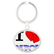 I Love Papou Oval Keychain
