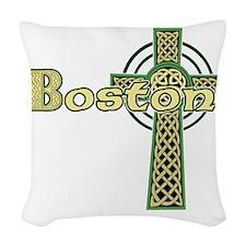 boston-celtic-cross Woven Throw Pillow