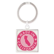 Pink-Made-In-Califotnia2 Square Keychain