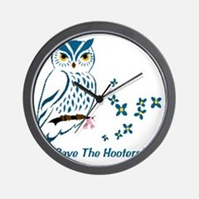 2-owl blueowl_bluets Wall Clock