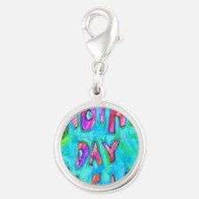 day clean Silver Round Charm
