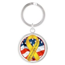 BLESS OUR TROOPS RIBBON Round Keychain