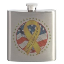 BLESS OUR TROOPS RIBBON Flask