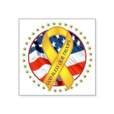 """BLESS OUR TROOPS RIBBON Square Sticker 3"""" x 3"""""""