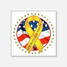 "BLESS OUR TROOPS RIBBON Square Sticker 3"" x 3"""