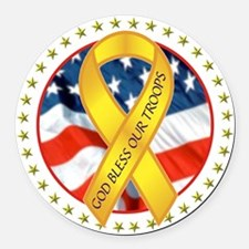 BLESS OUR TROOPS RIBBON Round Car Magnet
