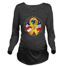 BLESS OUR TROOPS RIB Long Sleeve Maternity T-Shirt