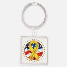 BLESS OUR TROOPS RIBBON Square Keychain