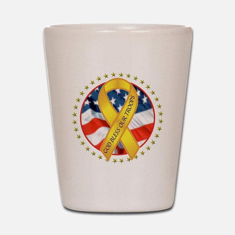 BLESS OUR TROOPS RIBBON Shot Glass
