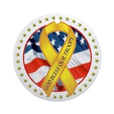 BLESS OUR TROOPS RIBBON Round Ornament