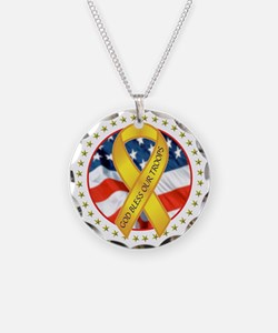 BLESS OUR TROOPS RIBBON Necklace Circle Charm