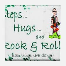 steps hugs rocker Tile Coaster