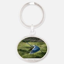 NCards_Great Blue Heron in copy Oval Keychain