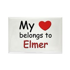 My heart belongs to elmer Rectangle Magnet