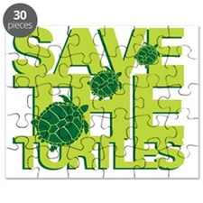 Save Turtles Green Slogan Puzzle