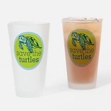 Save Turtles Logo Drinking Glass