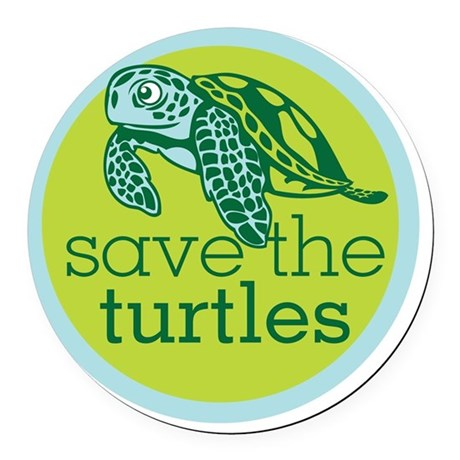 Save Turtles Logo Round Car Magnet